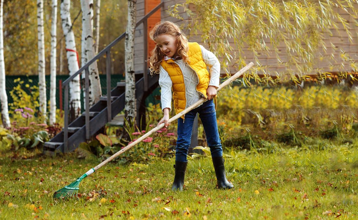 Girl with a rake
